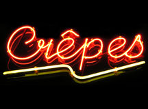 Crepes. Neon sign Stock Photos