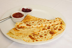 Crepe / Crepes / Pancake / Pancakes 8. This close-up picture shows some crepes with jam on a plate Royalty Free Stock Photo