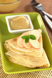 Crepes with Apple and Apple Sauce Stock Image