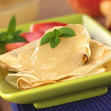 Crepes with Apple Sauce Stock Photography