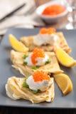 Crepes avec le caviar Images libres de droits