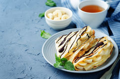Crepes with banana Royalty Free Stock Photography
