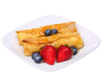 Crepes with Berries. Rolled Pancakes with Strawberry, Blueberry Stock Photography