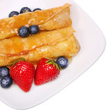 Crepes with Berries. Rolled Pancakes with Strawberry, Blueberry Stock Image