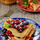 Crepes with berries Royalty Free Stock Photos