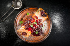 Crepes with berry and jam Stock Photography