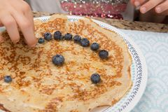 Crepes with Blueberries Stock Images