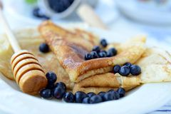 Crepes with blueberries Royalty Free Stock Photography