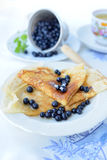 Crepes with blueberries Stock Photo