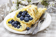 Crepes with blueberries Royalty Free Stock Photo