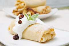 Crepes for breakfast Royalty Free Stock Photography