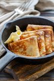 Crepes with butter for breakfast. Royalty Free Stock Photo