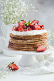 Crepes cake with cottage cheese and strawberry Royalty Free Stock Photo