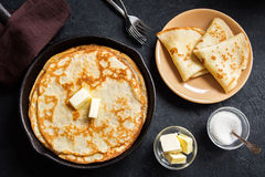 Crepes in cast iron pan Stock Image