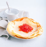 Crepes and caviar Stock Images