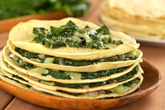 Crepes with Chard Stock Photography