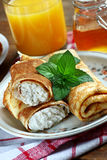 Crepes with cheese. Rolled pancakes with cottage cheese close up Royalty Free Stock Photo