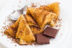 Crepes with chocolate Stock Photo