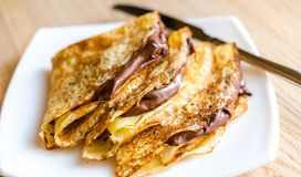 Crepes with chocolate cream Stock Photography
