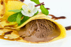 Crepes with chocolate ice cream Stock Photography