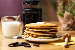 Crepes with chocolate and milk Stock Photography