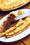 Crepes with chocolate Royalty Free Stock Images
