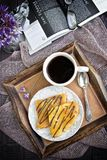 Crepes and coffee for breakfast Royalty Free Stock Image