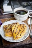 Crepes and coffee for breakfast Royalty Free Stock Photography