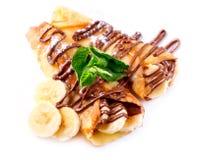 Crepes com banana e chocolate Fotografia de Stock Royalty Free