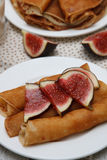 Crepes com figos Foto de Stock Royalty Free