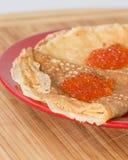 Crepes con el caviar Foto de archivo libre de regalías