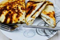 Crepes con el queso blanco Imágenes de archivo libres de regalías