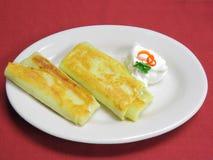 Crepes con formaggio cremoso Fotografia Stock