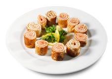 Crepes con los salmones Imagen de archivo libre de regalías