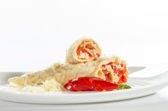 Crepes con queso y pimienta roja Imagen de archivo libre de regalías