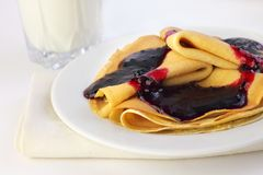 Crepes with confiture Royalty Free Stock Image