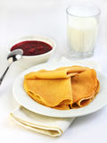 Crepes with confiture and milk Stock Photo