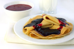 Crepes with confiture Royalty Free Stock Photography