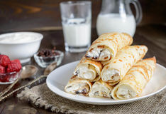 Crepes with cottage cheese Royalty Free Stock Images