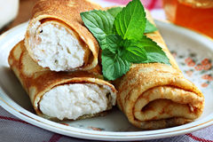 Crepes with cottage cheese Stock Photo