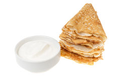 Crepes with cour cream Stock Image