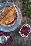 Crepes with Cranberry sauce Stock Images