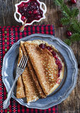 Crepes with Cranberry sauce Royalty Free Stock Image