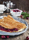 Crepes with Cranberry sauce Stock Image