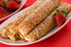 Crepes with cream cheese Royalty Free Stock Images