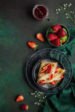 Crepes with cream cheese and fresh strawberry Royalty Free Stock Image