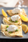 Crepes with cream fraiche Stock Photography