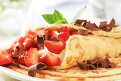 Crepes with curd cheese and strawberries Royalty Free Stock Photography