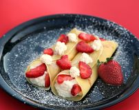 Crepes da morango Foto de Stock Royalty Free