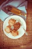 Crepes de patata apetitosas Fotografía de archivo libre de regalías